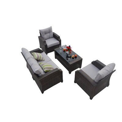 Baptist 4 Piece Rattan Conversation Set with Cushions