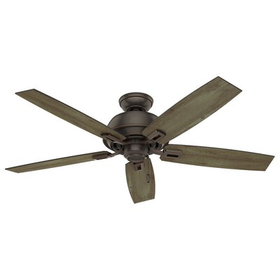 52 Donegan 5-Blade Outdoor Ceiling Fan Finish: Onyx Bengal with Gray Pine/Sienna Oak Blades