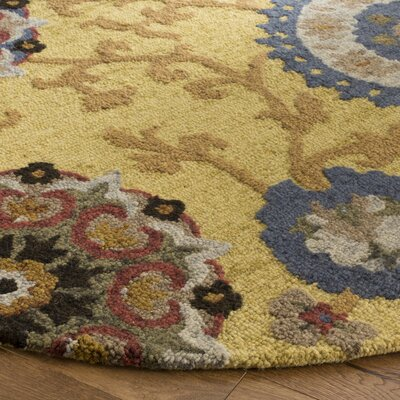 Mudoch Hand-Tufted Wool Gold Area Rug Rug Size: Round 6