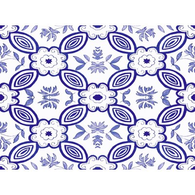 Atherstone 1 Blue/White Area Rug Rug Size: 4' x 6'