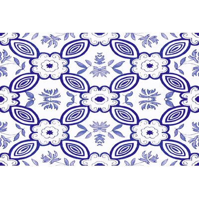 Atherstone 1 Blue/White Area Rug Rug Size: 2' x 3'