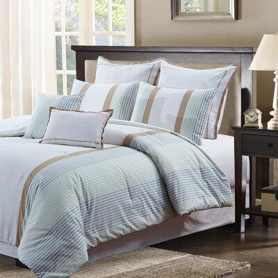 Forthill Pique Stripe 7 Piece Comforter Set Size: Queen