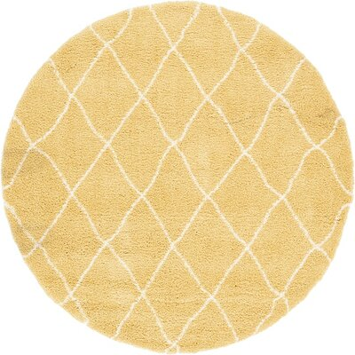 Cynthiana Yellow Area Rug Rug Size: Round 8