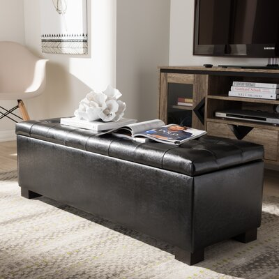 Carnegie Leather Ottoman Upholstery: Black