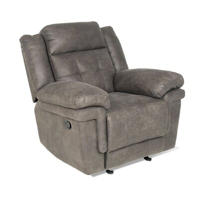 Rancourt Manual Recline Glider Recliner  Upholstery: Grey