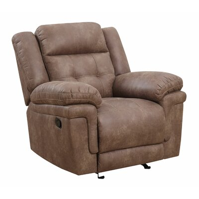 Rancourt Manual Recline Glider Recliner  Upholstery: Cocoa