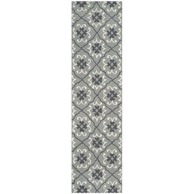 Clandestine Hand-Hooked Gray/Ivory Indoor/Outdoor Area Rug Rug Size: Runner 23 x 8
