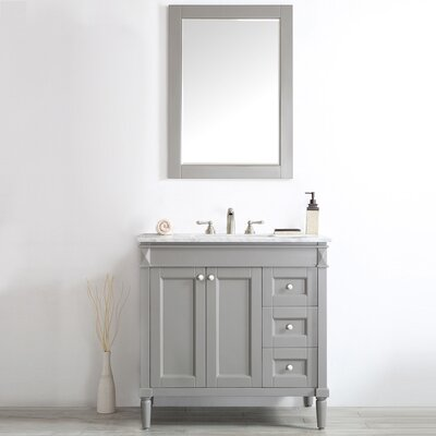 Millfield 36 Single Vanity Set with Mirror Base Finish: Grey