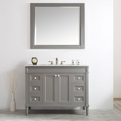 Millfield 48 Single Vanity Set with Mirror Base Finish: Grey