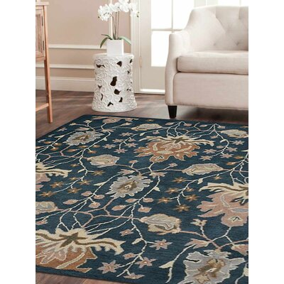 Kirchner Floral Hand Tufted Wool Blue Area Rug Rug Size: 5 x 8