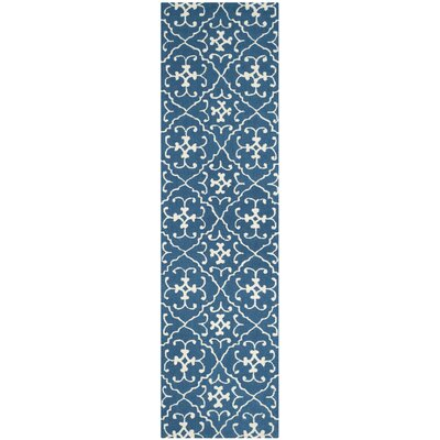 Adams Northwest Hand-Hooked Navy/Ivory Indoor/Outdoor Area Rug Rug Size: Runner 23 x 8