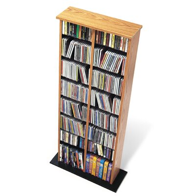 Deliah Double Media Multimedia Storage Rack Color: Oak and Black