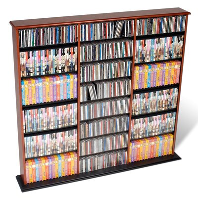 Deliah Triple Width Multimedia Storage Rack Color: Cherry and Black