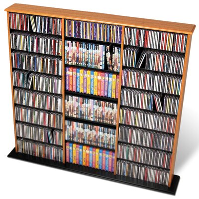 Deliah Triple Width Multimedia Storage Rack Color: Oak and Black
