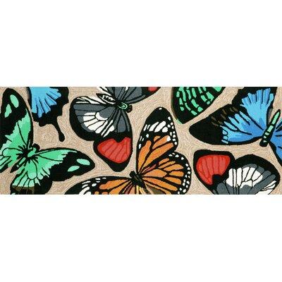 Birchview Butterfly Dance Neutral Indoor/Outdoor Area Rug Rug Size: Runner 23 x 6