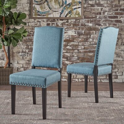Sona Upholstered Dining Chair Upholstery Color: Blue