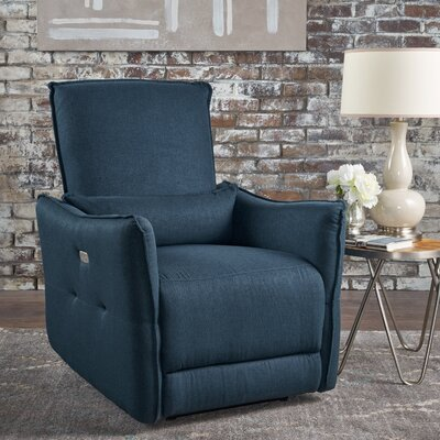 Helaine Fabric Power Recliner Upholstery: Navy Blue