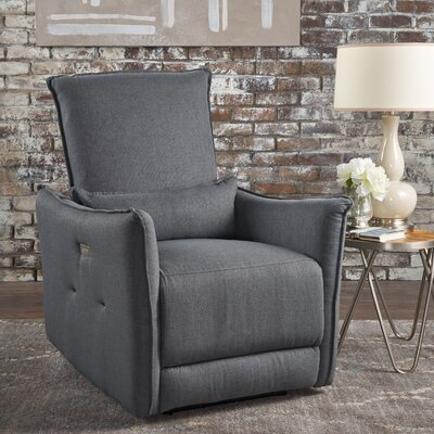 Helaine Fabric Power Recliner Upholstery: Charcoal