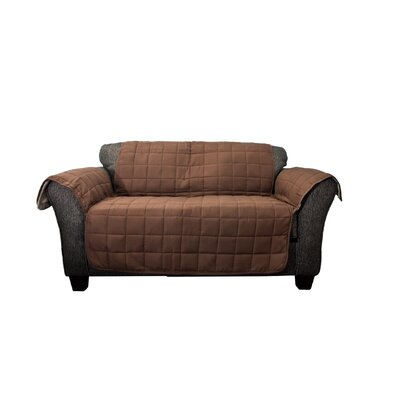 Waterproof Box Cushion Loveseat Slipcover Upholstery: Chocolate-Taupe