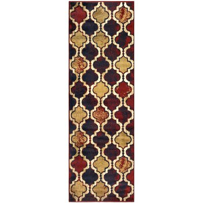 Colena Red/Blue Area Rug Rug Size: Runner 27 x 8