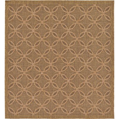 Brayton Light Brown Outdoor Area Rug Rug Size: Square 6