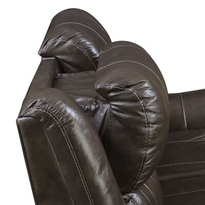 Guineau Power Top Grain Leather Reclining Loveseat