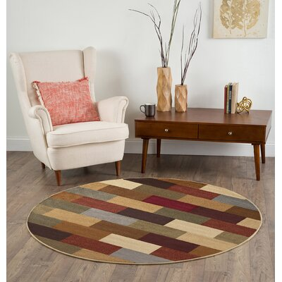 Lavalley Multi Abstract Area Rug Rug Size: Round 53