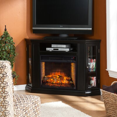 Harger Convertible 48 TV Stand with Fireplace Color: Black