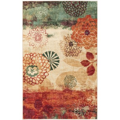 Arend Beige/Green Area Rug Rug Size: Rectangle 76 x 11