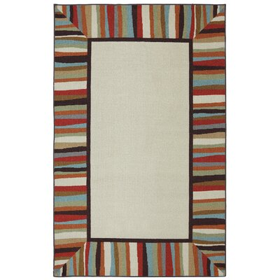 Albany Patio Border Rainbow Outdoor Machine Woven Area Rug Rug Size: Rectangle 5 x 8