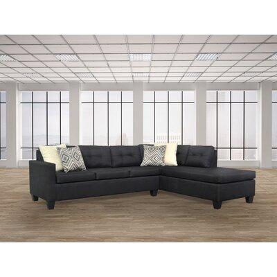 Mackay Sectional Upholstery: Oscar Black / Greymere Flax / Fresco Stone