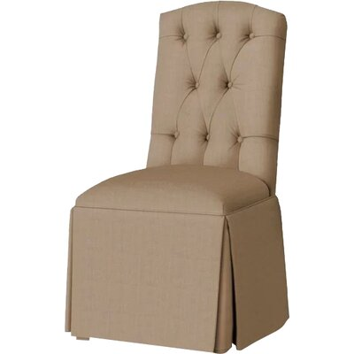 Pearce Diamond Tufted Skirted Side Chair Upholstery: Tan