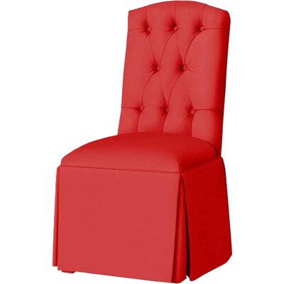 Pearce Diamond Tufted Skirted Side Chair Upholstery: Red