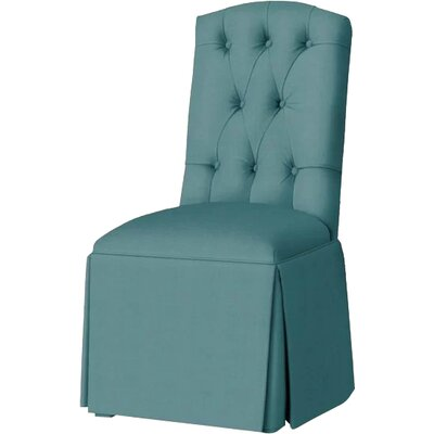 Pearce Diamond Tufted Skirted Side Chair Upholstery: Turquoise
