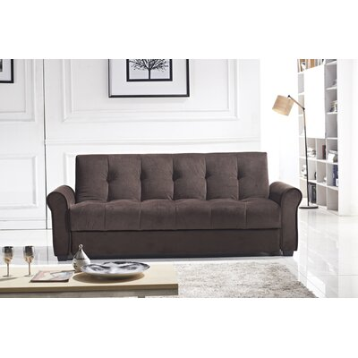 Russell Convertible Sofa Upholstery: Dark Brown