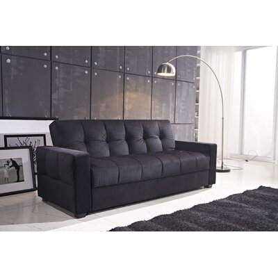 Russell Convertible Sofa Color: Black
