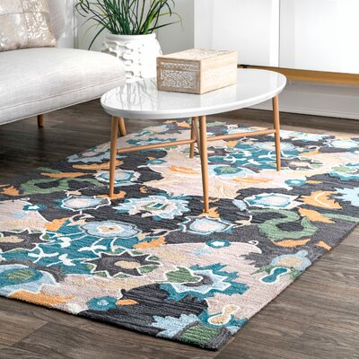 Bradcliff Hand-Tufted Navy Area Rug Rug Size: Rectangle 4 x 6