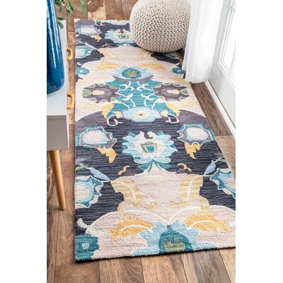 Bradcliff Hand-Tufted Navy Area Rug Rug Size: Runner 26 x 8