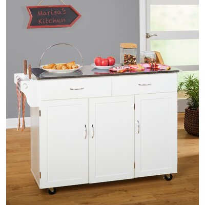 Garrettsville Kitchen Island with Stainless Steel Top Base Finish: White