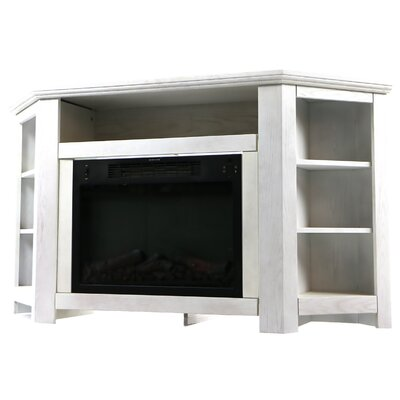 Cesar Modern TV Stand with Electric Fireplace Finish: White