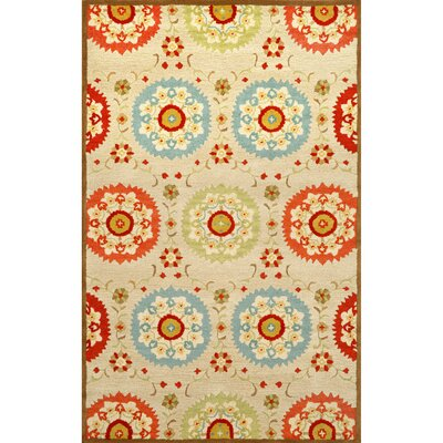 Madge Neutral Suzanie Hand Tufted Wool Beige/Orange/Blue Area Rug Rug Size: Rectangle 36 x 56