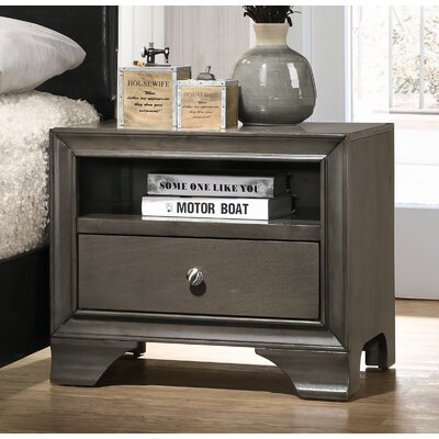 Cleckley 1 Drawer Nightstand Color: Gray