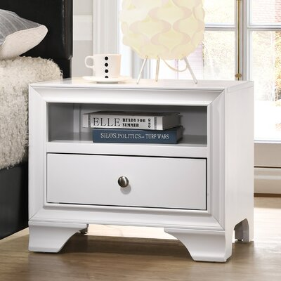 Cleckley 1 Drawer Nightstand Color: White