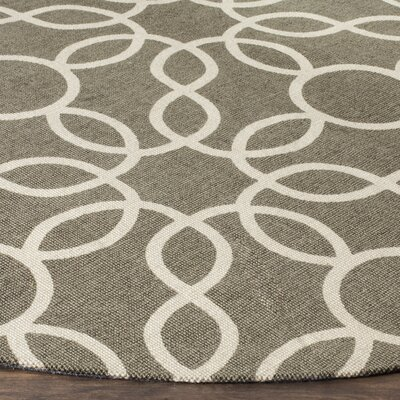 Beyers Hand-Loomed Gray/Ivory Area Rug Rug Size: Round 6
