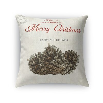 Laurelynn Pine Cone Christmas Outdoor Throw Pillow Size: 18 x 18