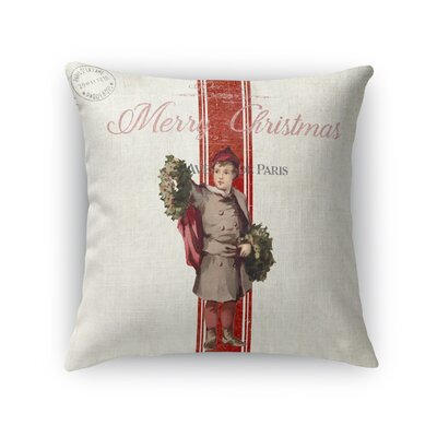 LeighAnn Christmas Boy Outdoor Throw Pillow Size: 16 x 16