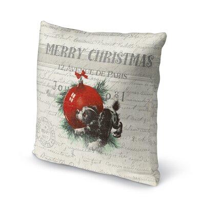 Konner Christmas Puppy Outdoor Throw Pillow Size: 18 x 18