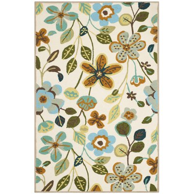 Aldridge Hand-Hooked Indoor/Outdoor Ivory Area Rug Rug Size: Rectangle 36 x 56