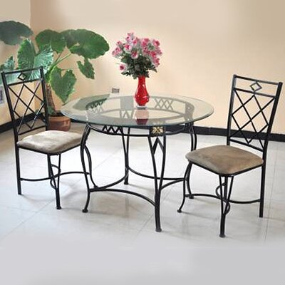 Blondelle Temper Glass 5 Piece Breakfast Nook Dinning Set