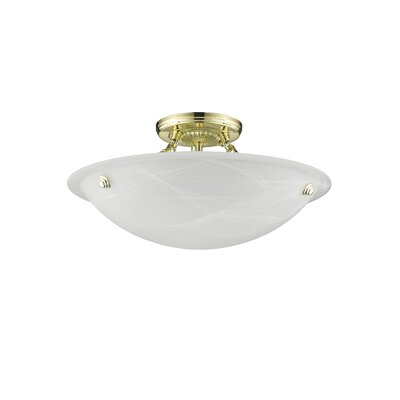 Everett Light Semi Flush Mount in Polished Brass Size: 7 H x 16 W x 16 D